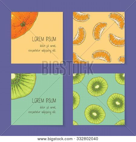 Square Business Cards With Fruits Template Collection On A Violet Background. Kiwi And Tangerine. Fr