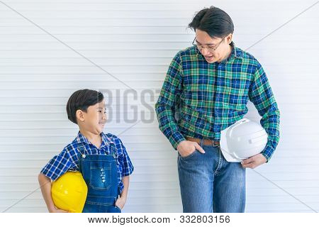 Like Father Like Son Concept With Asian Father And Son Working On Construction Industry For Famiyl B