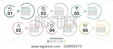 Vector Flat Infographic Template. Line Circles With Text And Icons For Six Diagrams, Graph, Flowchar