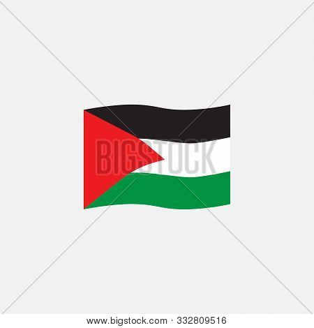 Palestine Flag Colors Flat Icon, Vector Sign, Waving Flag Of Palestine Colorful Pictogram Isolated O