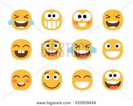 Cheerful Emoticons. Funny Laughing Faces, Laugh With Tears Smile, Joy And Happiness, Smiling Cartoon