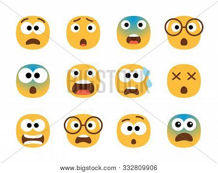 Scared Emoticon Faces. Vector Fearing Emoji Set, Fear Screaming Face, Nervous And Stress Cartoon Cha