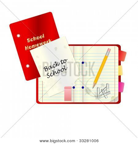 A back to school or education concept illustration with notepad and other school stationary isolated on white