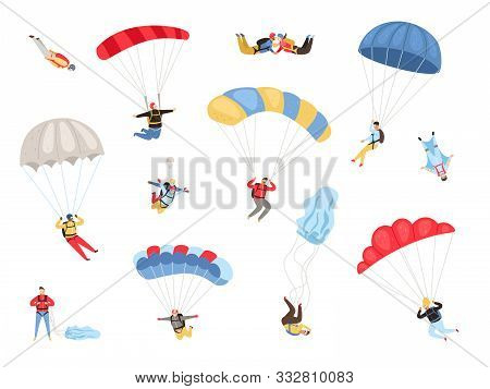 Parachute Skydivers. Paraglide And Parachute Jumping Characters On White, Paragliders And Parachutis