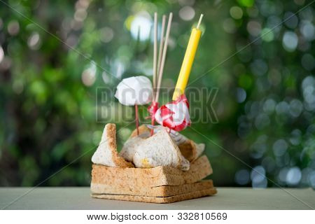 Beautiful Krathong For Loy Krathong Festival In Thailand. Krathong Make From Bread For Easy To Decom