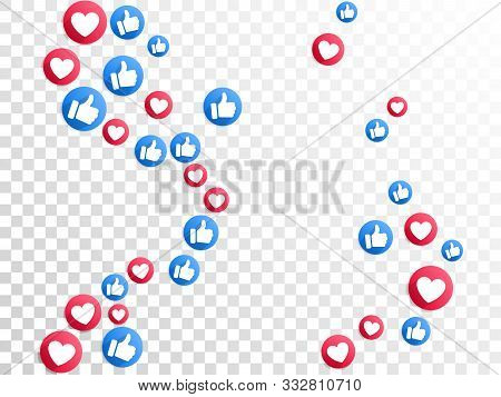 Like Thumbs Up And Love Heart Icons Falling On Transparent Background. Abstract Social Media Symbols