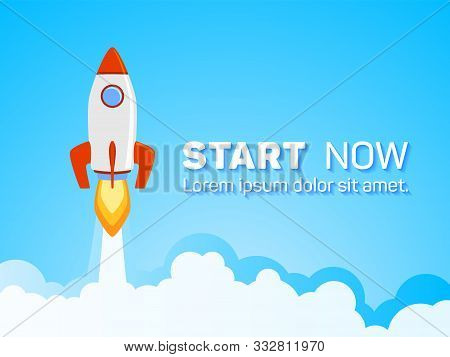Rocket Spaceship Launch To Stars Into The Blue Sky Space. Start Now Quote. Business Start Up Concept