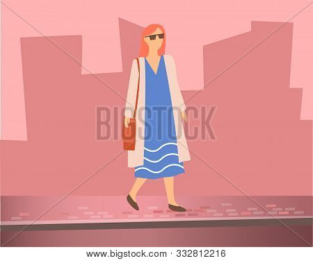 Woman Walking On Street Near Road. On Background Silhouettes Of City Buildings. Border Separate Path