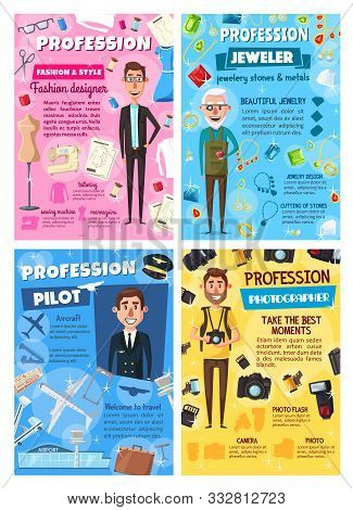 poster of Professions of photographer, pilot, jeweler and tailor vector design. Aircraft captain, goldsmith, cameraman and fashion designer occupation posters with men, airplane, camera, jewelry, sewing machine