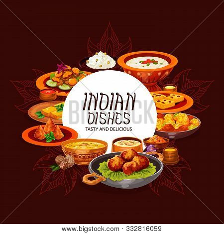 Indian Food Vector Design Of Dishes With Chicken Curry, Rice Pilau And Meat Vegetable Casserole. Pot