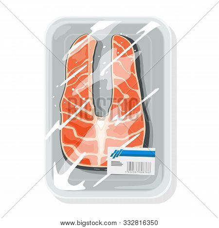 Cutted Piece Of Atlantic Salmon, Coho Silver, Pink Humpy, Chum Dog Or Chinook King Is On Plastic Tra