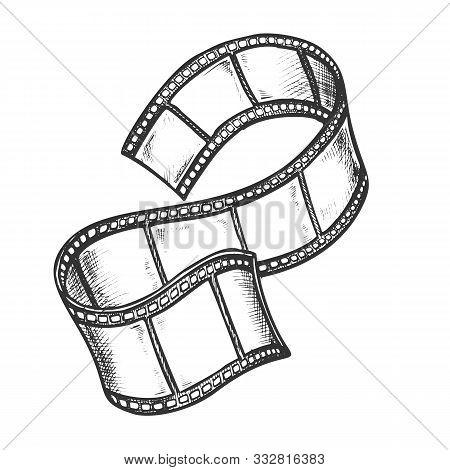 Film Strip For Cinema Projector Monochrome Vector. Obsolete Classical Blank Film Frames. Cinematogra