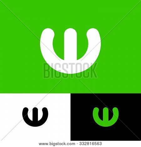 W Letter. W Flat Monogram. W Logo. White Monogram On An Different Backgrounds. Typography. Lettering