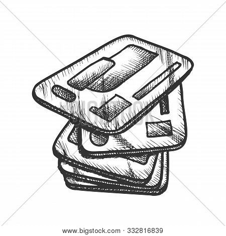 Credit Cards Pile Credit And Debit Retro Vector. Stack Of Plastic Banking Cards For Shopping. Financ