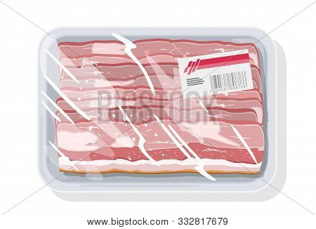 Smoked Bacon, Ham Is On Plastic Tray Covered Stretch Food Wrapper, Clingfilm With Label. Vacuum-pack