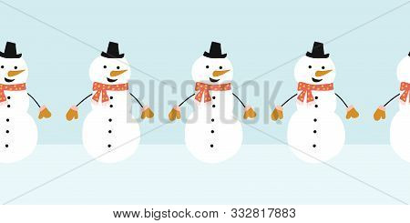 Snowman Seamless Vector Border. Cute Snowmen Standing In A Horizontal Row. Winter Holidays Repeating