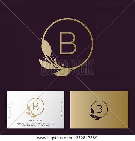Beauty Salon Logo And Identity. B Monogram. Emblem Of Female Clothing Or Lingerie. Elegant Round Ico