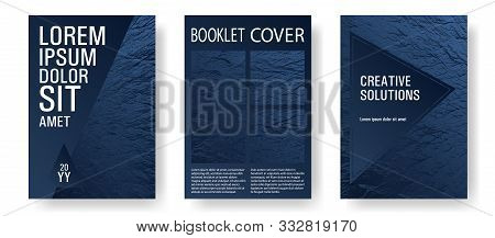 Flyer Poster Vector Graphic Design Set. Dark Blue And Black Waves Texture. Fluid Buzzing Wavy Noise
