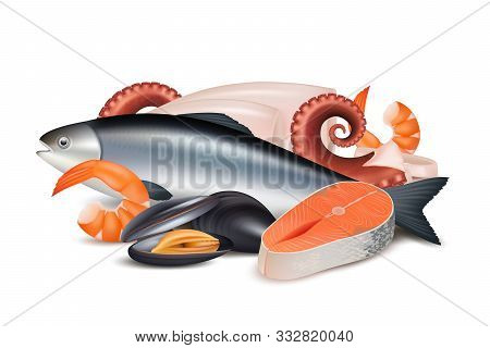 Seafood. Composition Of Different Fresh Protein Food Fish Octopus Mollusk Lobster Vector Realistic P