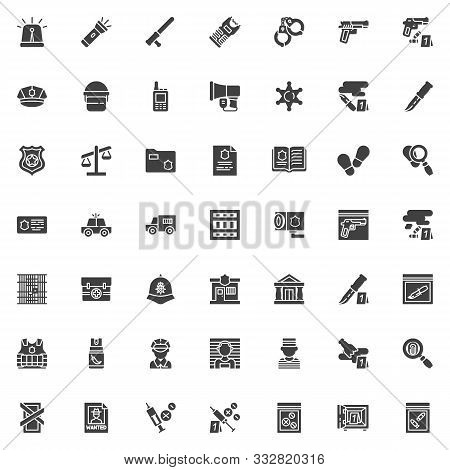 Police Vector Icons Set, Modern Solid Symbol Collection, Filled Style Pictogram Pack. Signs, Logo Il