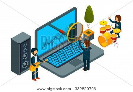 Home Record Studio. Isometric Guys Record Song On Laptop. Vector Musicians And Singer. Illustration