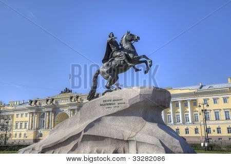 The Bronze Horseman - monument in St Petersburg, Russia poster