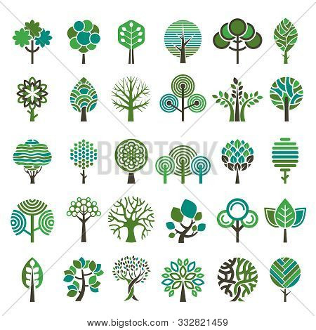 Logo Tree. Eco Nature Wood Trees Stylized Emblems Or Badges Vector Collection. Illustration Stylized