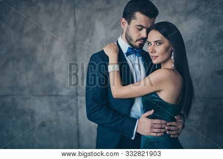 Photo Of Two Chic People Couple In Love Standing Close Tenderness Naughty Dreams Homey After Party H
