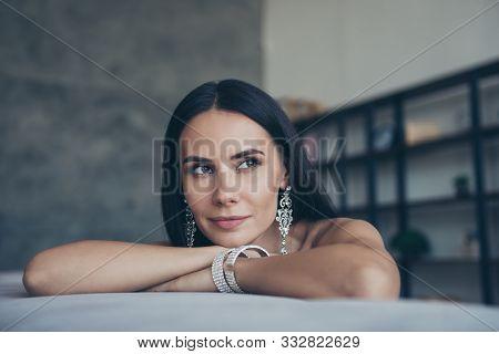 Closeup Photo Of Amazing Classy Lady Leaning On Hands Looking Side Dreamer Waiting Boyfriend Returni