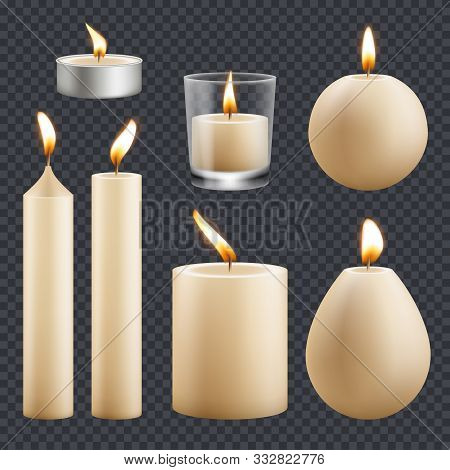Candles Collection. Decorative Birthday Celebration Wax Candles Flame Different Types Vector Realist