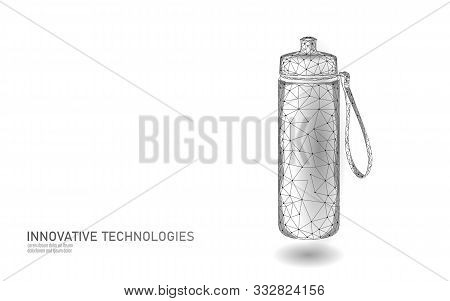 3d Water Fitness Bottle Polygonal Banner. Aqua Liquid Package. Plastic Isotonic Electrolytes Drink A