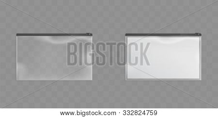 Clear Plastic Zipper Bags Isolated On Transparent Background. Vector Set Of Translucent Pockets Seal