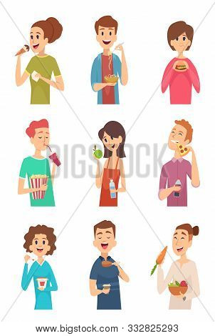 People Eating. Hungry Persons With Different Foods And Drinks Cake Spaghetti Fruits Hotdog Burger Ve