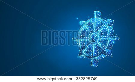Dharma Wheel Of Fortune, Spirituality, Buddhism. Steering Or Fate Wheel. Abstract Digital Wireframe,