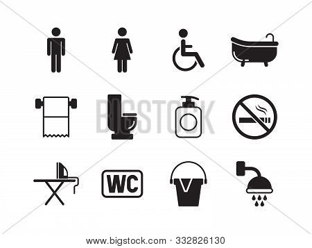 Toilets Symbols. Man And Woman Toileting Washing Public Rooms Flush Wc Pictogram Vector Collection.