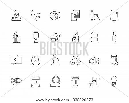 Garbage Icon. Rubbish Plastic And Paper Garbage Recycle Bins Vector Symbols. Illustration Rubbish Re