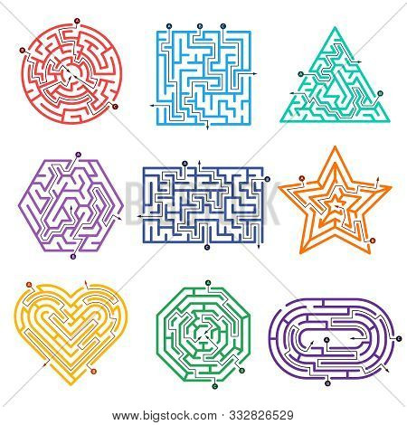 Game Labyrinth. Mazes Way With Various Entrance Gate And Exits Out Vector Shapes. Illustration Game