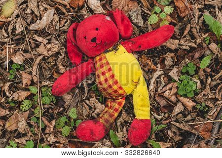Plush Toy Dog Wallow In Foliage. Lost Dirty Red Toy Lies On The Ground In The Park.