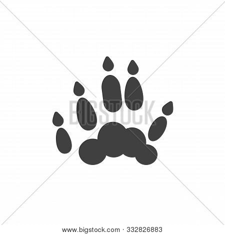 Ferret Paw Print Vector Icon. Filled Flat Sign For Mobile Concept And Web Design. Polecat Animal Foo