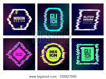 Glitch Cards. Abstract Distorshion Frames Damaged Square Glitched Shapes Geometric Trendy Vector For