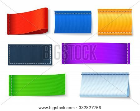 Textile Labels. Clothes Blank Fabric Tags, Color Cotton Rectangular Banners With Copyspace. Isolated