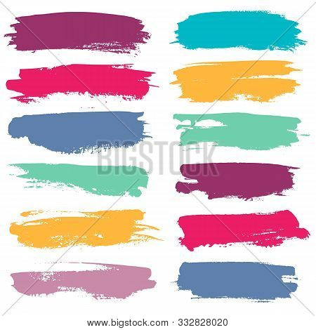 Color Grunge Brushes. Watercolor Paint Linear Strokes For Highlighting, Yellow, Red And Blue, Green