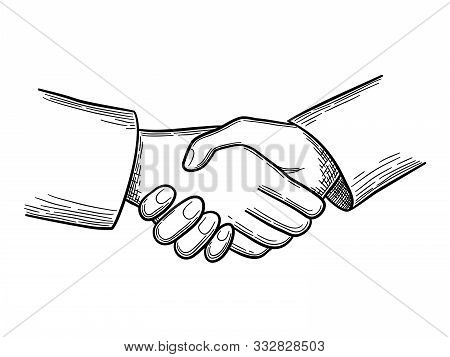 Handshake Sketch. Business Concept People Handshakes Vector Doodles. Illustration Handshake Business