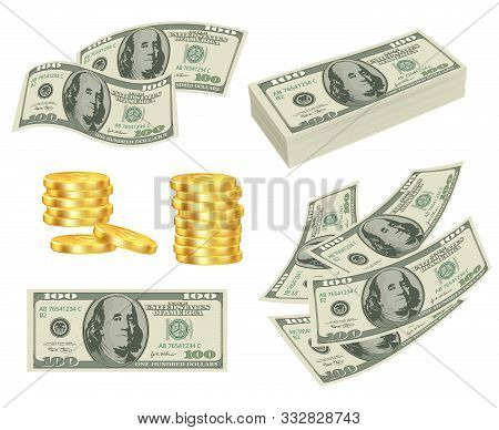 Money. Dollars Cash Gold Prize Banknotes Roll Cards Vector Realistic Pictures Of Money. Cash Dollar,