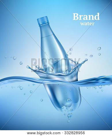 Bottle In Water. Liquid Flowing Wave With Transparent Bottle Splashes Drops Underwater Environment A