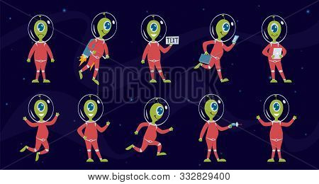 Aliens. Funny Green Space Humanoid In Spacesuit, Ufo Alien Pilot In Different Activities. Galaxy Mon