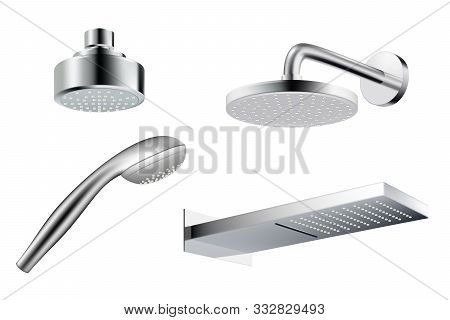 Shower Realistic. Metalic Shower Head Template Water Splash Vector Pictures Isolated. Illustration R