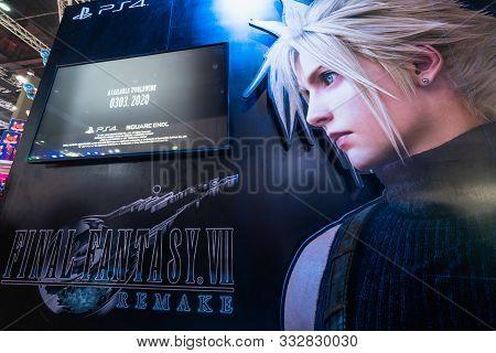 Bangkok, Thailand - Oct 25, 2019: Final Fantasy Vii Remake Advertisement Backdrop With Gameplay Demo