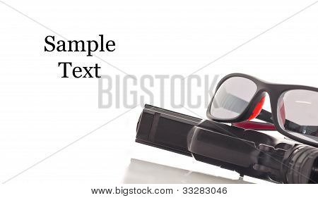 Safety Glass And Handgun With Space For Text On White