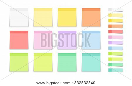 Set Of Post Note Sticker And Square Stickers. Blank Colorful Sticky Notes. Office Blanks, Reminder L